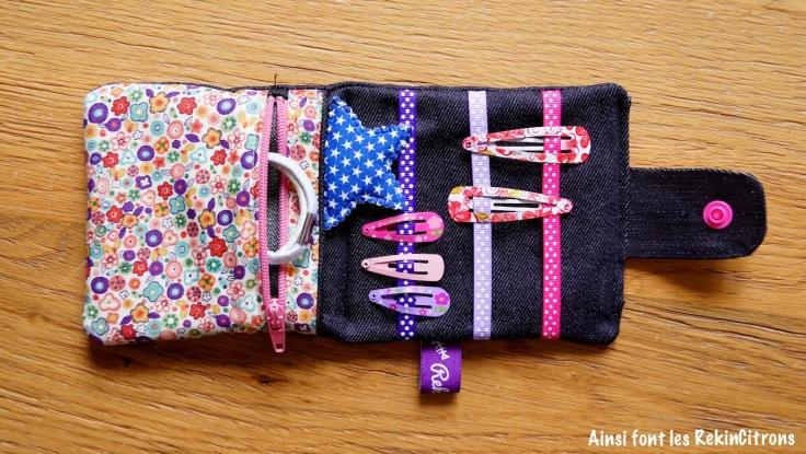 pochette barrettes elastiques petite fille couture fait main 3
