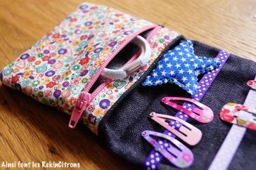 pochette barrettes elastiques petite fille couture fait main 4