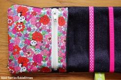 Pochette barrettes fille panda fleurs 2