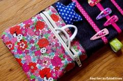 Pochette barrettes fille panda fleurs 5