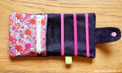 Pochette barrettes fille panda fleurs