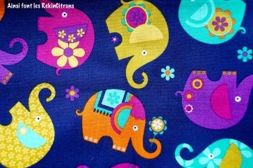 tissu elephants violet detail