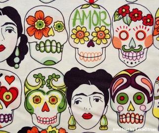 tissu frida mexique tetes de mort detail