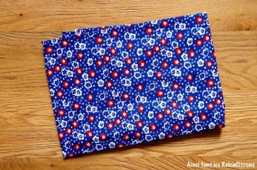 tissu petit pan fleurs des iles bleu