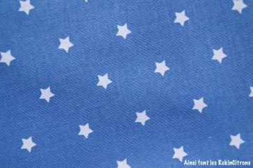 tissu toile bleu etoile detail
