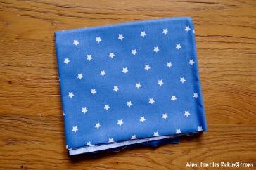 tissu toile bleu etoile
