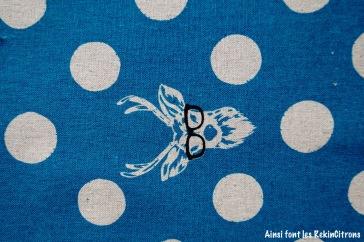 tissu toile echino cerf bleu detail