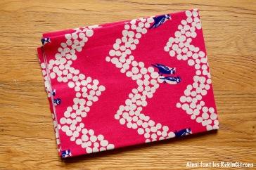 tissu toile echino fushia oiseaux