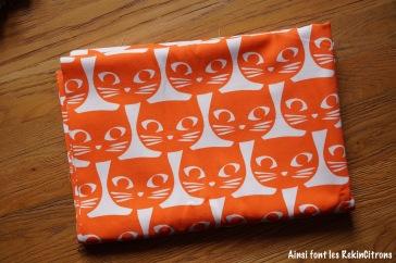 tissu toile ikea chats oranges