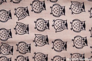 tissu toile kokka beige chouettes detail