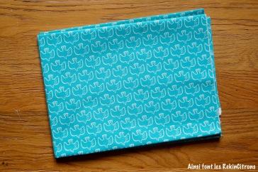 tissu toile oiseaux turquoise kokka