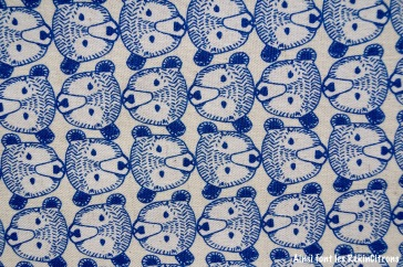 tissu toile ours bleu detail