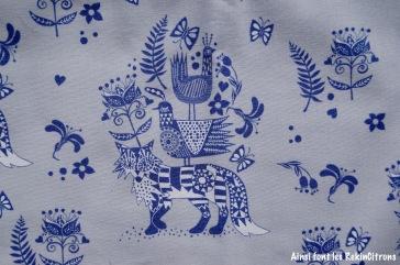 tissu toile renard origami detail