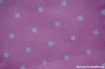 tissu toile rose pale etoiles detail