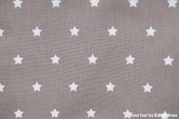 tissu toile taupe etoiles detail