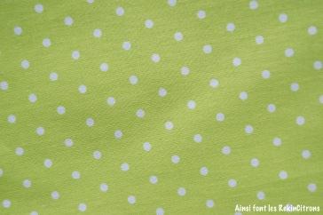 tissu toile vert pois detail