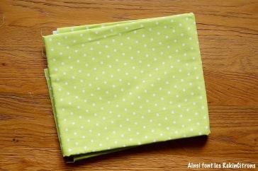 tissu toile vert pois
