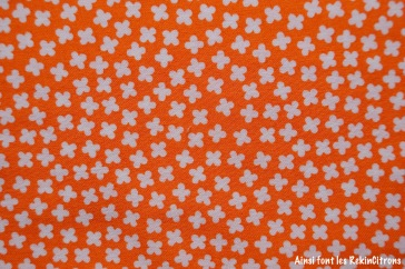 tissu trèfles orange detail