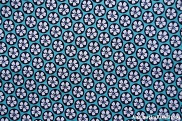 tissu turquoise fleurs tahiti marines detail